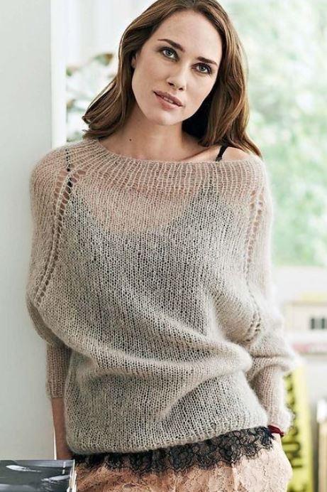 тонкий свитер из мохера спицами