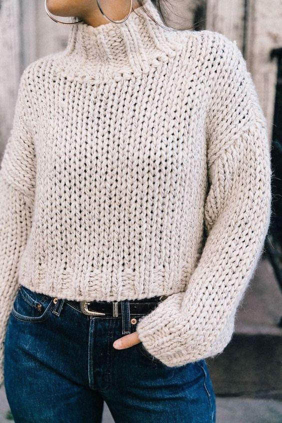 свитер лицевыми петляи